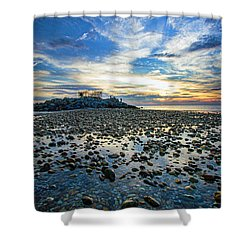 Cable Crossing Orient Point Sunset Shower Curtain