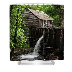 Shower Curtain featuring the photograph Cable Grist Mill by Andrea Silies
