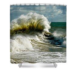 Cabrillo Shorebreak  Shower Curtain by Michael Cinnamond