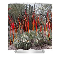 Cactus And Glass Shower Curtain by Elvira Butler