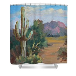 Shower Curtain featuring the painting Cactus By The Red Mountains by Diane McClary
