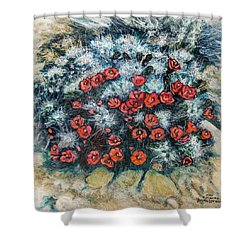 Shower Curtain featuring the painting Cactus Flower by Ron Richard Baviello