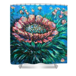 Shower Curtain featuring the painting Cactus Flowers by Laila Awad Jamaleldin