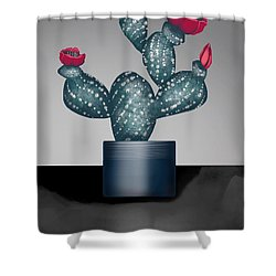 Cactus In Bloom II Shower Curtain