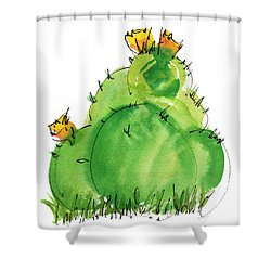 Cactus In The Yellow Flower Watercolor Painting By Kmcelwaine Shower Curtain by Kathleen McElwaine