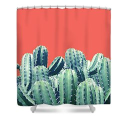 Cactus On Coral Shower Curtain
