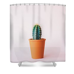 Cactus Pot Shower Curtain by Happy Home Artistry
