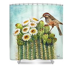 Cactus Wren And Saguaro Shower Curtain