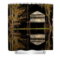 Caddo Lake Boathouse Shower Curtain