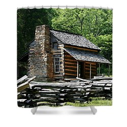 Shower Curtain featuring the photograph Cade's Cove Cabin by John Black