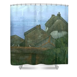 Cadgwith Rooftops Shower Curtain by Steve Mitchell