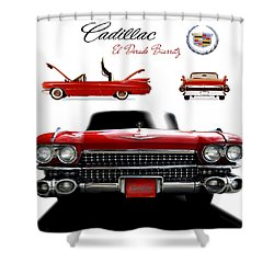 Cadillac 1959 Shower Curtain by Gina Dsgn