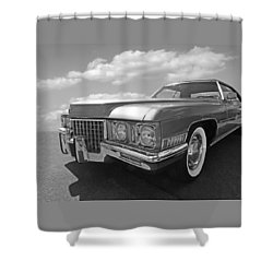 Cadillac Coupe De Ville 1971 In Black And White Shower Curtain