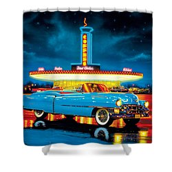 Cadillac Diner Shower Curtain by MGL Studio - Chris Hiett