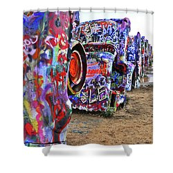 Cadillac Ranch Shower Curtain by Angela Wright