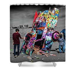 Shower Curtain featuring the photograph Cadillac Ranch Spray Paint Fun Along Historic Route 66 By Amarillo Texas by Randall Nyhof