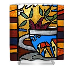 Shower Curtain featuring the painting Cafe Caribe  by Oscar Ortiz