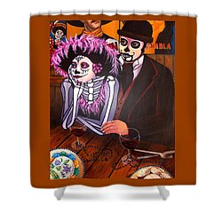 Cafe- Day Of The Dead Shower Curtain