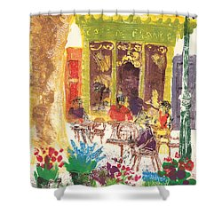 Shower Curtain featuring the painting Cafe De France by Martin Stankewitz