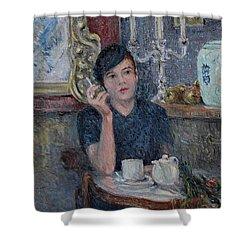 Cafe De Paris  Shower Curtain by Pierre Van Dijk