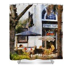 Shower Curtain featuring the digital art Cafe by Francesa Miller