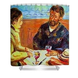 Cafe  Homage  De Pierre Auguste Shower Curtain by Carole Spandau