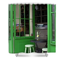 Cafe In Green Shower Curtain by Lorraine Devon Wilke