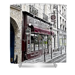 Cafe In Paris Shower Curtain by J Pruett