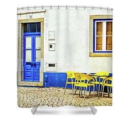 Shower Curtain featuring the photograph Cafe In Portugal by Marion McCristall