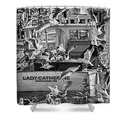 Cafe Lady Catherine Black And White Shower Curtain