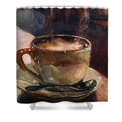 Cafe Love Coffee Painting Shower Curtain