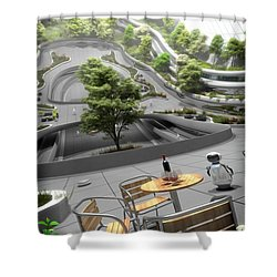 Shower Curtain featuring the digital art Cafe On A 75m Radius Settlement by Bryan Versteeg