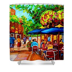 Cafe On Prince Arthur  In Montreal  Shower Curtain by Carole Spandau