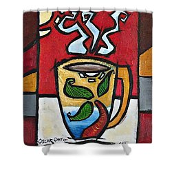 Shower Curtain featuring the painting Cafe Palmera by Oscar Ortiz