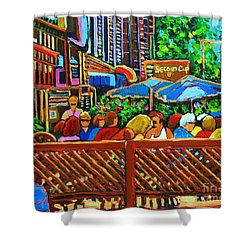 Shower Curtain featuring the painting Cafe Second Cup by Carole Spandau