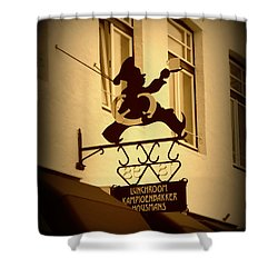 Cafe Sign In Holland Shower Curtain by Carol Groenen