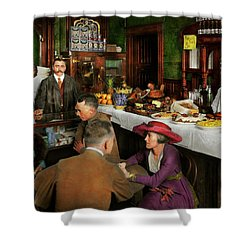 Shower Curtain featuring the photograph Cafe - Temptations 1915 by Mike Savad