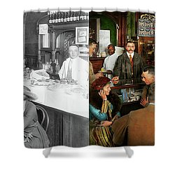 Shower Curtain featuring the photograph Cafe - Temptations 1915 - Side By Side by Mike Savad