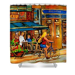 Cafes With Blue Awnings Shower Curtain by Carole Spandau