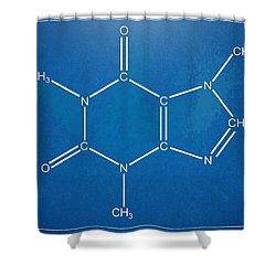 Caffeine Molecular Structure Blueprint Shower Curtain by Nikki Marie Smith