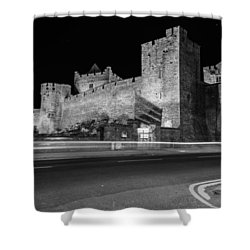 Cahir Castle At Night Shower Curtain by Martina Fagan