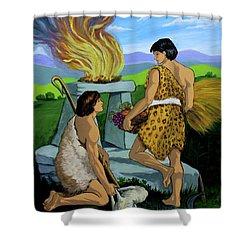 Cain And Abel Shower Curtain by Karon Melillo DeVega
