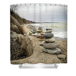 Shower Curtain featuring the photograph Cairn On The Beach by Kimberly Mackowski