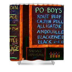 Cajun Menu Alligator Sausage Poboy - 20130119 Shower Curtain