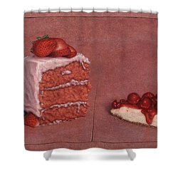Cakefrontation Shower Curtain by James W Johnson