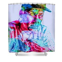 Cal Ripken Jr Baltimore Oriole Painted Digitally Shower Curtain by David Haskett