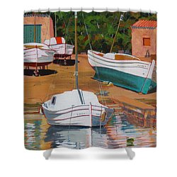 Cala Figuera Boatyard - II Shower Curtain