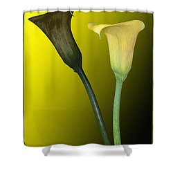Cala Lilies Opposites Shower Curtain by Shirley Mangini