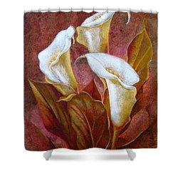 Cala Lillies Bouquet Shower Curtain by J- J- Espinoza