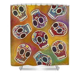 Shower Curtain featuring the painting Calaberitas Day Of The Dead Skulls by Carla Bank